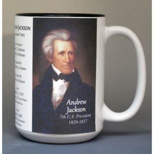 Andrew Jackson, US President biographical history mug.