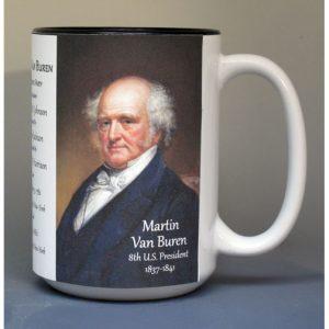 Martin Van Buren, US President biographical history mug.