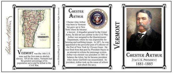Chester Arthur Vermont history mug tri-panel.