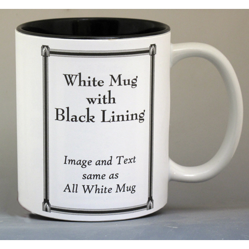 White mug with Black Lining, image and text are the same as the All-White mug.