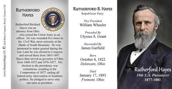 U.S. President Rutherford B. Hayes history mug tri-panel.