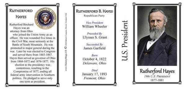 U.S. President Rutherford B. Hayes biographical history mug tri-panel.