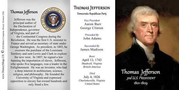 Thomas Jefferson US President biographical history mug tri-panel.