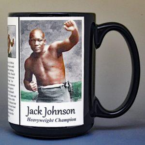 Jack Johnson, professional boxer biographical history mug.
