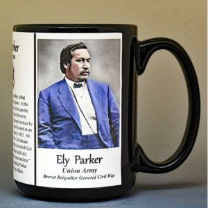 Ely Parker, Union Army, US Civil War biographical history mug.