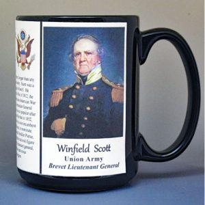 Winfield Scott, Brevet Lieutenant General, US Civil War biographical history mug.