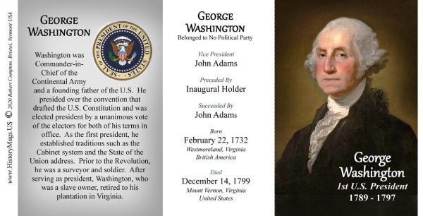 US President George Washington history mug tri-panel.