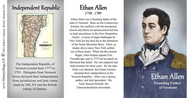 Ethan Allen, Vermont history biographical mug tri-panel.