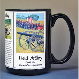 Field Artillery, US Civil War biographical history mug.