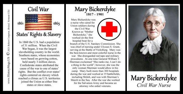 Mary Bickerdyke, Civil War Union nurse biographical history mug tri-panel.