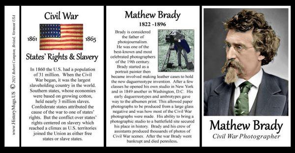 Mathew Brady, Civil War photographer biographical history mug tri-panel.
