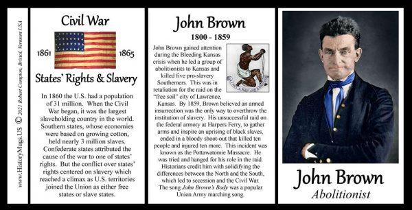 John Brown, Civil War abolitionist biographical history mug tri-panel.