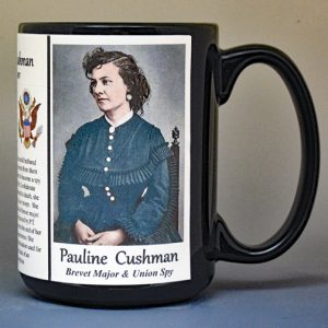 Pauline Cushman, woman who fought as a man in the Civil War Union Army biographical history mug.