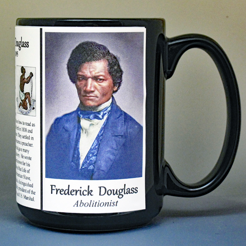 Frederick Douglass, US Civil War Union abolitionist biographical history mug.