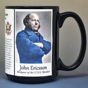 John Ericsson, designer of the U.S.S. Monitor biographical history mug.