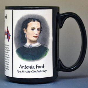 Antonia Ford, Confederate spy biographical history mug.