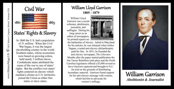 William Lloyd Garrison, Civil War Union abolitionist biographical history mug tri-panel.