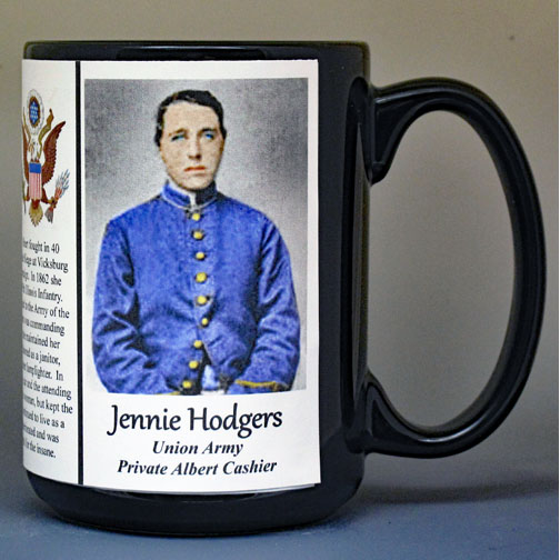 Jennie Hodgers, Union Army, US Civil War biographical history mug.