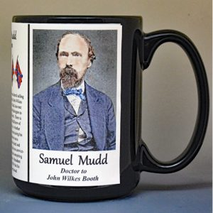 Samuel Mudd, Civil War doctor to John Wilkes Booth biographical history mug.