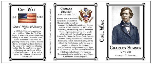 Charles Sumner Civil War Union civilian biographical history mug tri-panel.