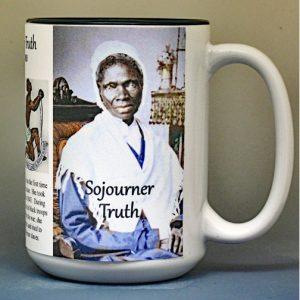 Sojourner Truth, US Civil War abolitionist biographical history mug.