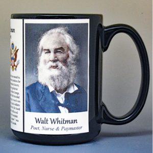 Walt Whitman, American author biographical history mug.
