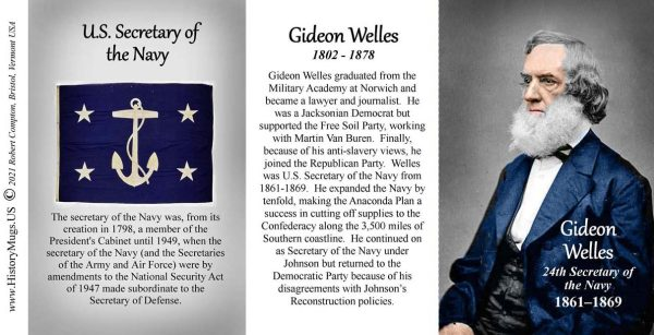 Gideon Welles, US Secretary of the Navy biographical history mug tri-panel.