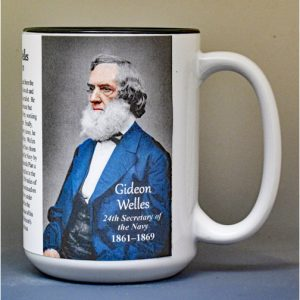 Gideon Welles, US Secretary of the Navy biographical history mug.