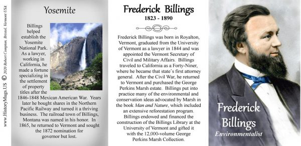 Frederick Billings, Vermont lawyer and environmentalist biographical history mug tri-panel.