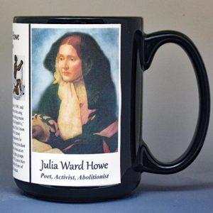 Julia Ward Howe, Civil War poet, activist, and abolitionist biographical history mug.