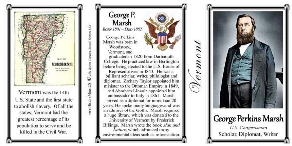 George Perkins Marsh, diplomat and environmentalist biographical history mug tri-panel.
