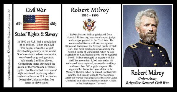 Robert Milroy, Union Army, US Civil War biographical history mug tri-panel.
