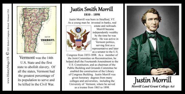 Justin Smith Morrill, Vermont biographical history mug tri-panel.