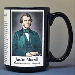 Justin Smith Morrill, Vermont biographical history mug.