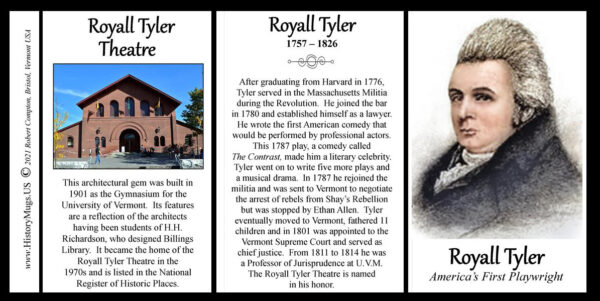 Royall Tyler America's first playwright biographical history mug tri-panel.