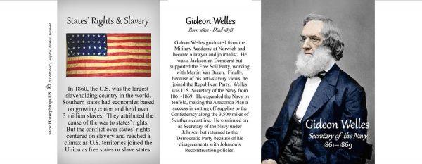 Gideon Welles, Civil War Secretary of the Navy biographical history mug tri-panel.