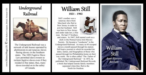 William Still, Civil War anti-slavery biographical history mug tri-panel.