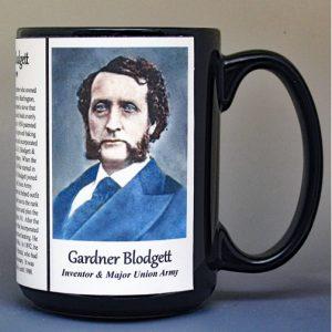 Gardner Blodgett, inventor and Major Union Army, US Civil War biographical history mug.