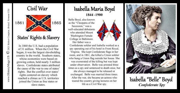 "Isabella ""Belle"" Boyd, Civil War Confederate spy biographical history mug tri-panel."