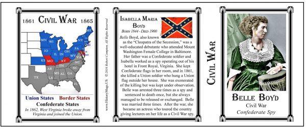 Belle Boyd Civil War history mug tri-panel.
