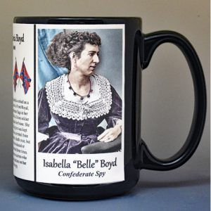 "Isabella ""Belle"" Boyd, Civil War Confederate spy biographical history mug."