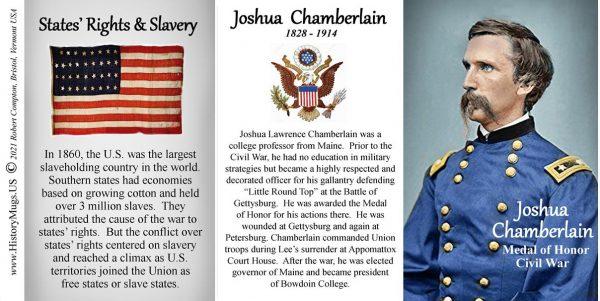 Joshua Chamberlain, Union Army, US Civil War biographical history mug tri-panel.