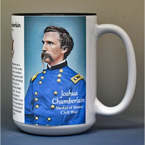 Joshua Chamberlain, Union Army, US Civil War biographical history mug.