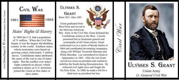 U.S. Grant, Civil War biographical history mug tri-panel.