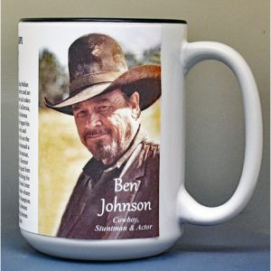 Ben Johnson, Pro-rodeo champion and motion picture actor, biographical history mug.