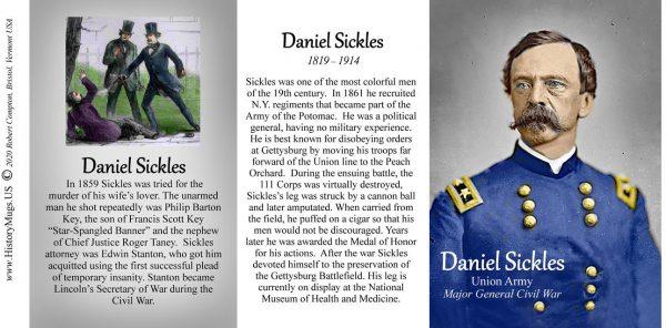 Daniel Sickles, US Civil War history mug tri-panel.