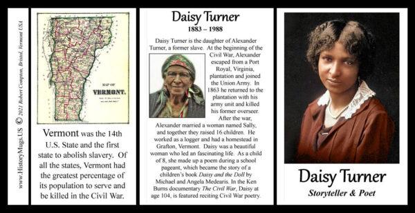 Daisy Turner, storyteller and poet biographical history mug tri-panel.