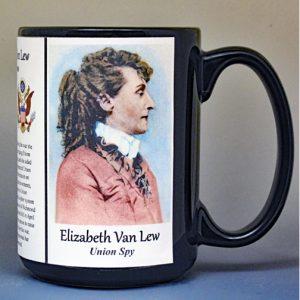 Elizabeth Van Lew, Civil War Union spy biographical history mug.