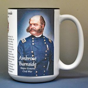 Ambrose Burnside, Union Army, US Civil War biographical history mug.