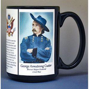 George Armstrong Custer, Union Army, US Civil War biographical history mug.